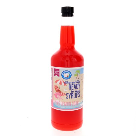 Pink Lemon Sour Ready to Use Shaved Ice or Sno Cone Syrup Quart (32 Fl Oz)