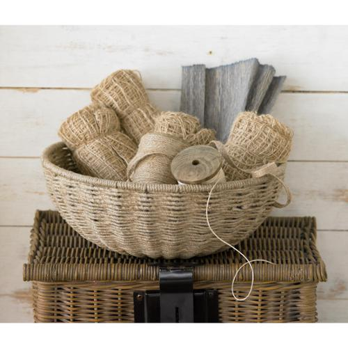 14-inch Woven Jute Rope Basket with Iron Frame