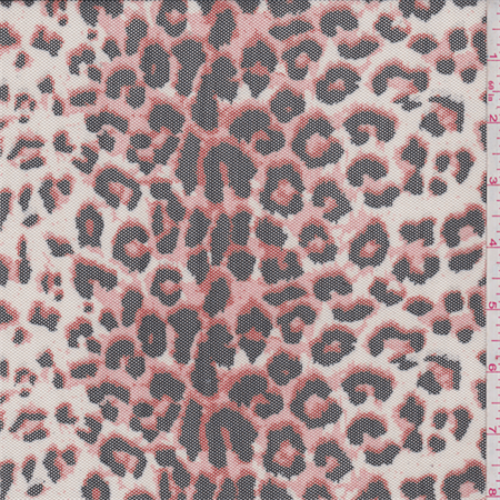 White/Coral Cheetah Print Stretch Mesh, Fabric Sold By the -
