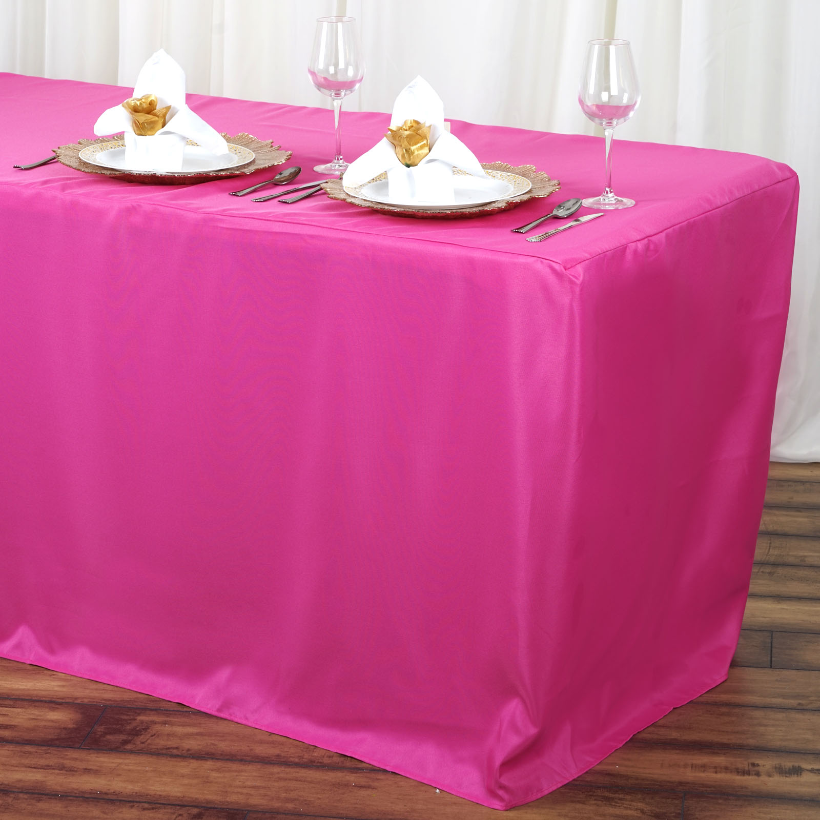BalsaCircle 6 feet Fitted Polyester Tablecloth Table Linens Wedding Party