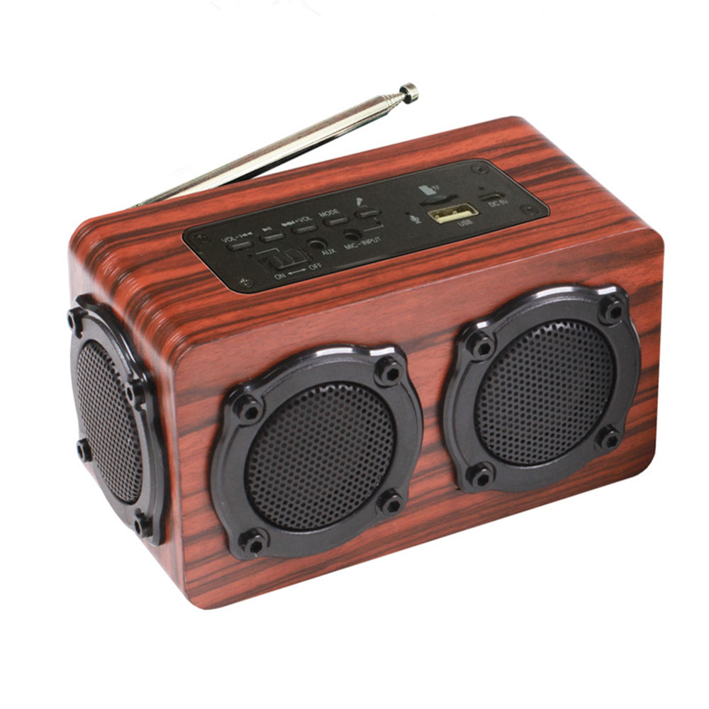 Wooden Portable Wireless Bluetooth Speaker Double Speaker with Double Vibration Membrane