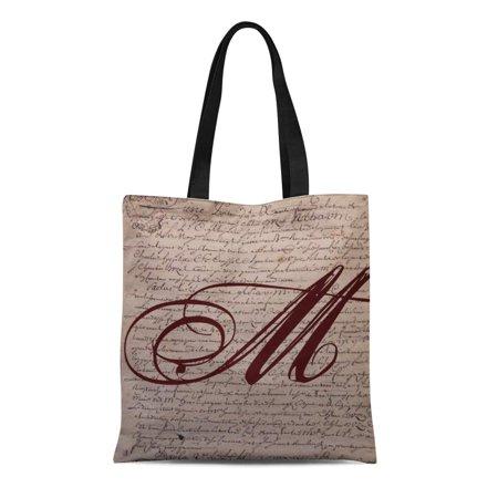 LADDKE Canvas Tote Bag Document French Writing Monogram Vintage Initial Words Script Paris Reusable Handbag Shoulder Grocery Shopping Bags](Initial Tote Bags)