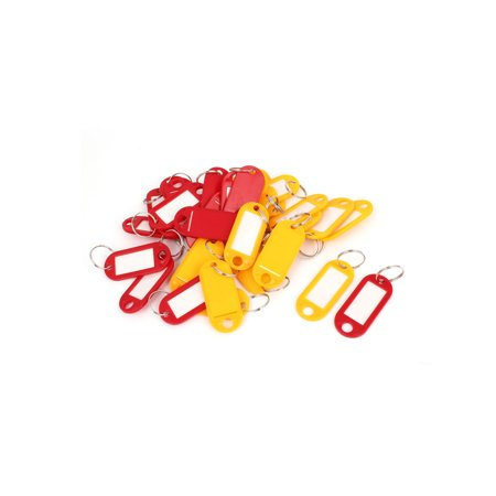 Plastic Oval Shape Key ID Tag Name Label Split Ring Keyring Orange Red 30 Pcs