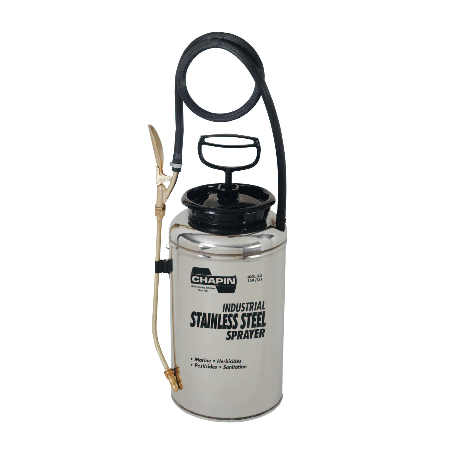 Chapin Stainless Steel Sprayer, 2 gal, 12 in Extension, 42 in Hose