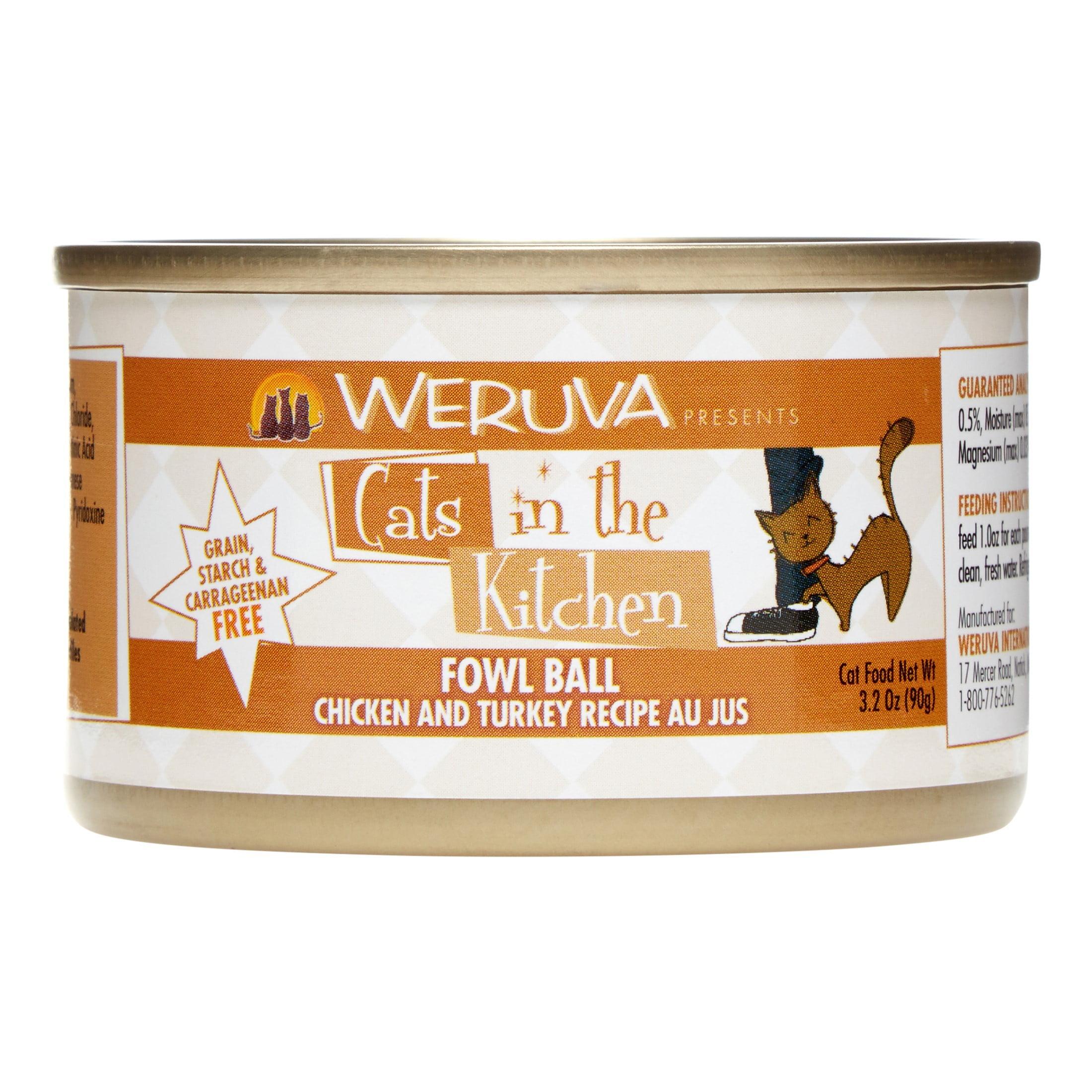 Weruva Cats in the Kitchen Grain-Free Fowl Ball Chicken & Tuckey Recipe Wet Cat Food, 3.2 Oz (24 Pack)