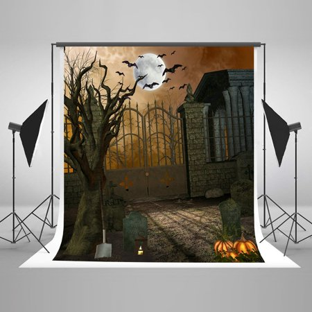 HelloDecor Polyster 5x7ft Halloween Photography Backdrops Boneyard Bats Pumpkin Photo Booth Props Background - Halloween Photo Booth Backdrop