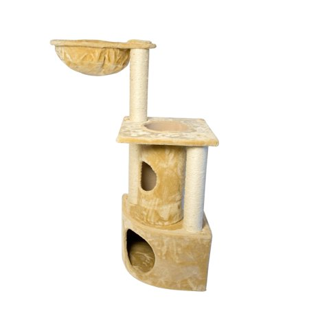Iconic Pet Peek-A-Boo Cat Tree with Sisal Scratching Posts, Beige