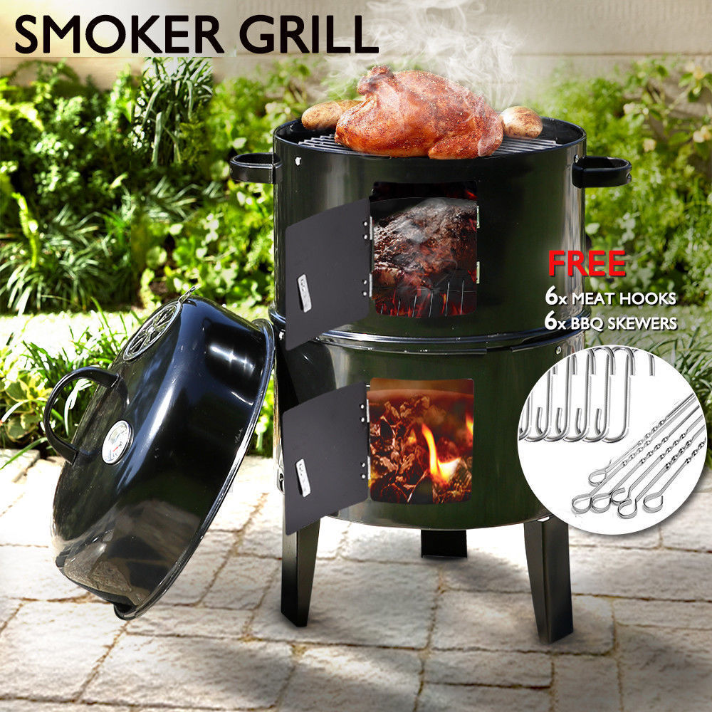 3 in 1 Portable Charcoal Large BBQ Grill Furnaces Steel Barbecue Roaster for Outdoor Picnic Cooking