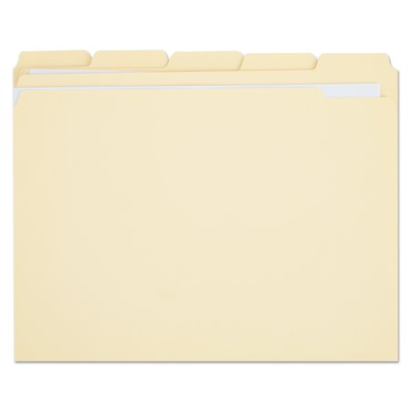 Universal File Folders, 1/5 Cut Assorted, Two-Ply Top Tab, Letter, Manila, 100/Box -UNV16115 (1/5 Cut Top Tabs)