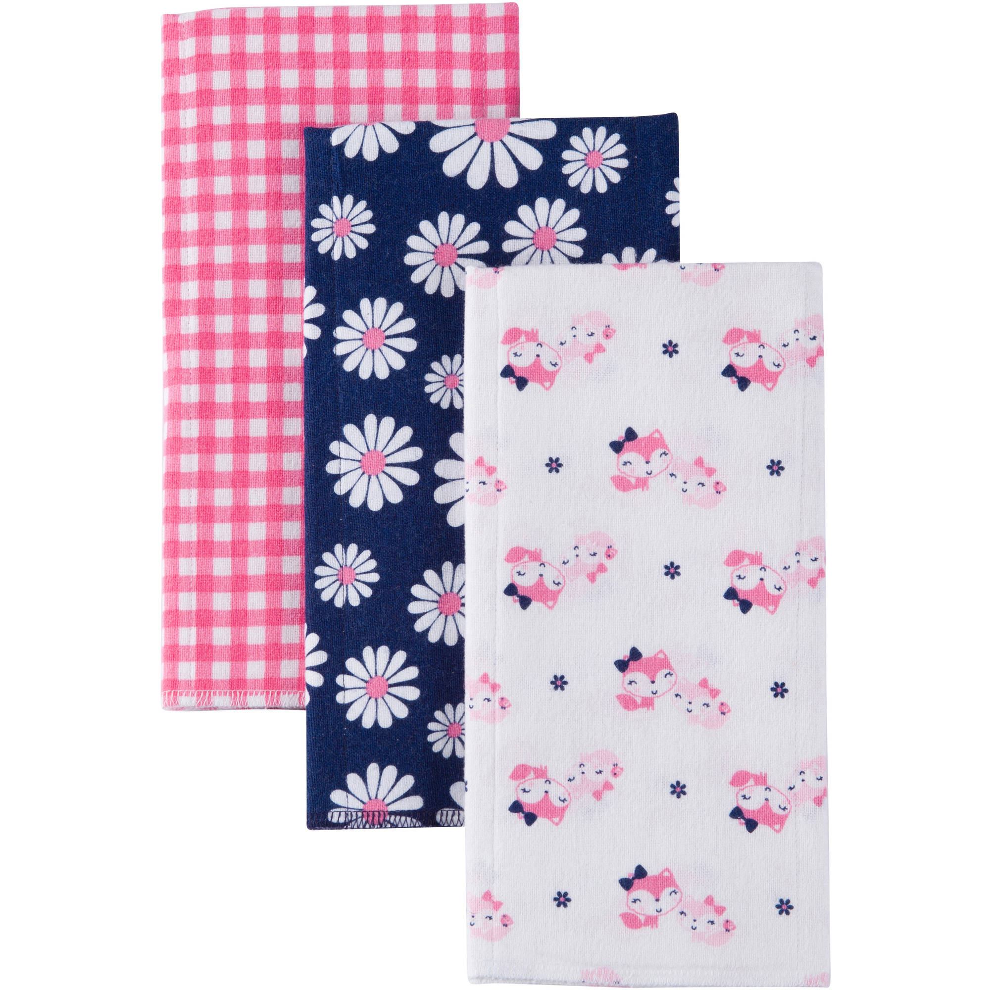 Gerber Baby Girl Flannel Burp Cloths, 3-Pack