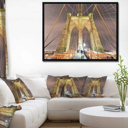 Bridge Framed Art Print (DESIGN ART Designart 'Brooklyn Bridge Tower and Cabling' Cityscape Framed Canvas Print )