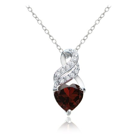 Garnet Bead Necklace - Sterling Silver Garnet and White Topaz Heart Double Twist Necklace
