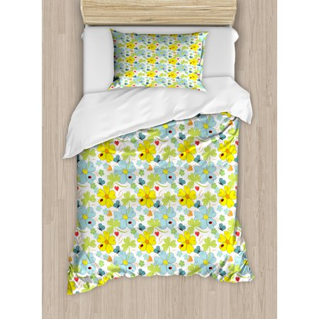 Yellow And Blue Twin Size Duvet Cover Set Daisies Shamrock Flowers With Hand Drawn