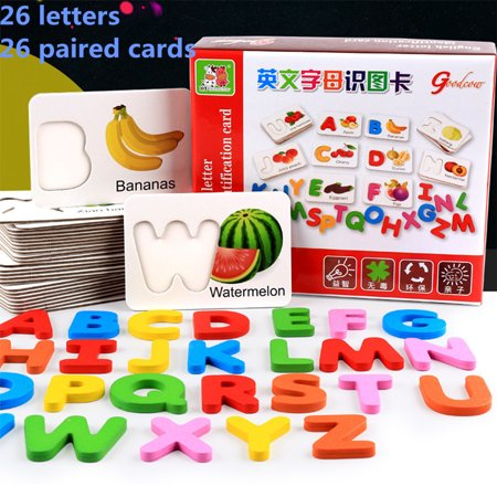 Wooden Early Education Baby Learning Fruit Vegetable ABC Alphabet Letter Cards Cognitive Educational Toys for Kids