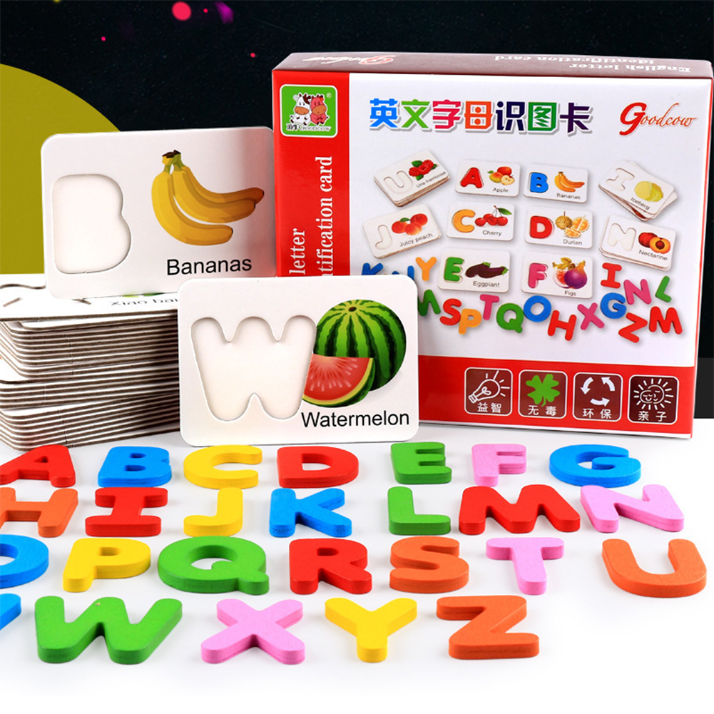 Wooden Early Education Baby Learning Fruit Vegetable ABC Alphabet Letter Cards Cognitive Educational Toys for Kids Color:fruit alphabet card - image 6 de 6