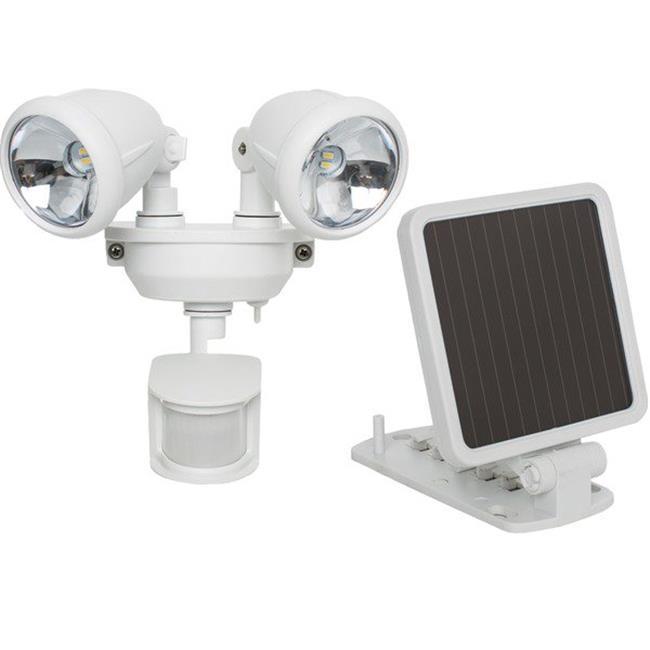 Solar Powered Dual Head LED Security Spotlight, White