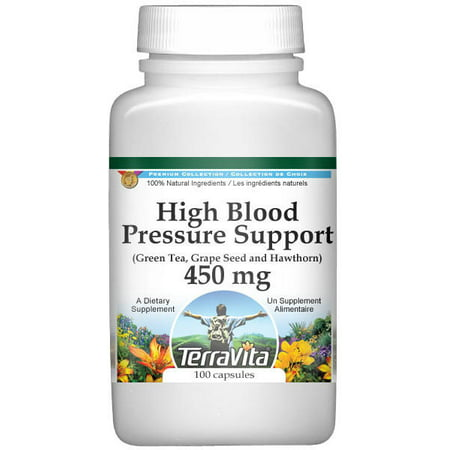 High Blood Pressure Support - Green Tea, Grape Seed and Hawthorn - 450 mg (100 capsules, ZIN: