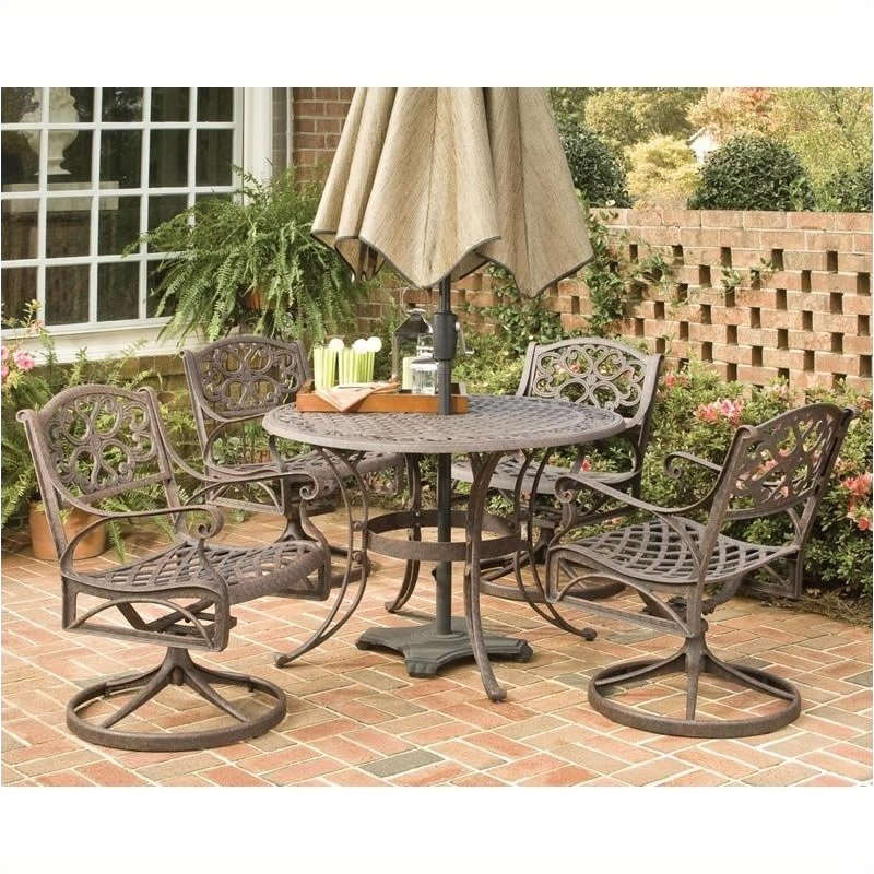 Bowery Hill 5 Piece Metal Patio Dining Room Set in Bronze by Bowery Hill