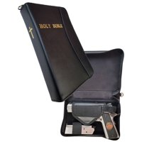 Leather Concealed Carry or Bookshelf Bible Gun Case with Gold Leaf Lettering for Large to Small Sized Guns