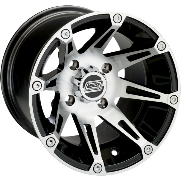 Moose Racing 387X Wheel (Front) 12X7 Machined W/Black Fits 08-12 Kawasaki Mule 610 KAF400A 4x4