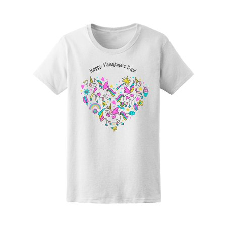 - Unicorn Doodle Heart Valentine's Day Tee Women's -Image by Shutterstock