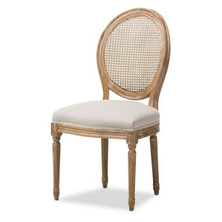 Baxton Studio Adelia French Vintage Cottage Weathered Oak Finish Wood and Beige Fabric Upholstered Dining Side Chair with Round Cane Back (Wood Back Upholstered Chair)