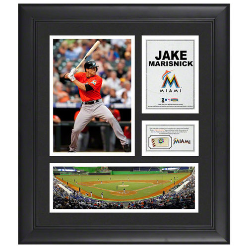 MLB - Jake Marisnick Miami Marlins Framed 15x17 Collage with Piece of Game-Used Ball
