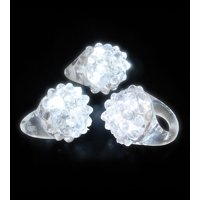 Lumistick Light-up Flashing LED White Party Favor Bumpy Jelly Rings, 10 pieces