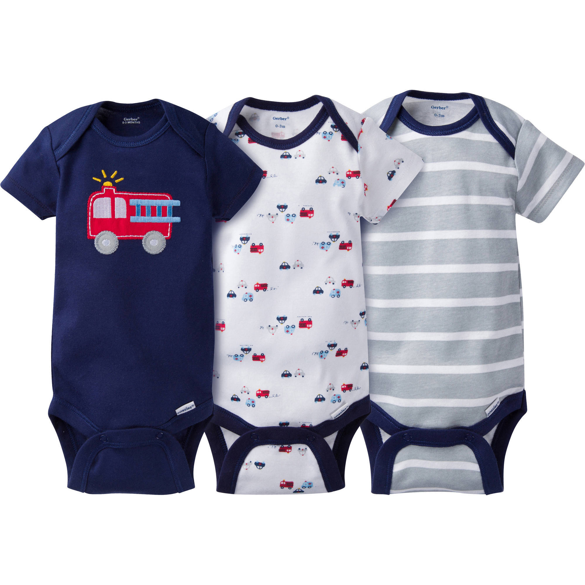 Gerber Newborn Baby Boy Onesies Bodysuits Assorted, 3-Pack