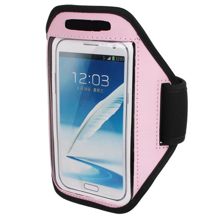 Unique Bargains Sports Running Jogging Gym Armband Pouch Case Cover Holder Pink for Note 2 3