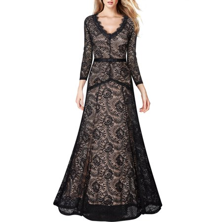 Womens Formal Evening Long Dressesvintage Floral Lace Wedding Party Maxi Dresses Blackl