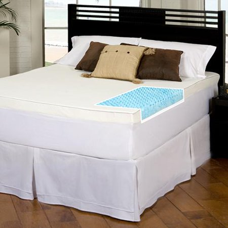 Slumber Solutions Gel Highloft 4 Inch Memory Foam Mattress Topper With Waterproof Cover