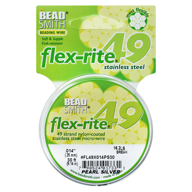 """BeadSmith Flex-Rite Beading Wire, 49 Strand .014"""" Thick, 30 Foot Spool, Pearl Silver"""
