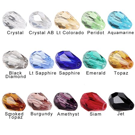 Drops Vintage Glass Bead Strand - BRCbeads Crystal Glass Beads 150pcs Faceted Straight Hole Teardrop 10x15mm include Plastic Jewelry Container for jewelery making