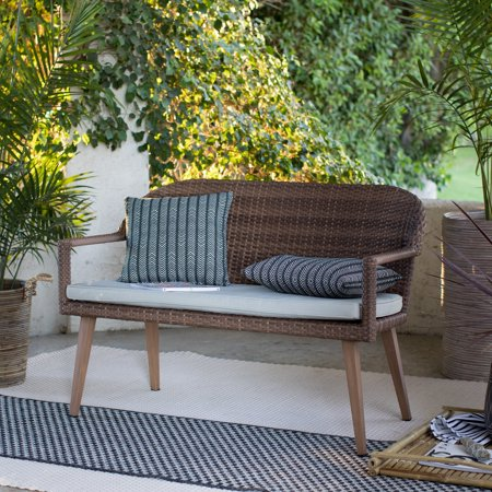 Coral Coast Pruitt Resin Wicker Outdoor Bench with Cushion