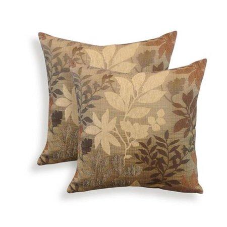 Essentials 19-62963TAU Bristol Chenille Jacquard Leaf Toss Pillow, Taupe - Set of 2