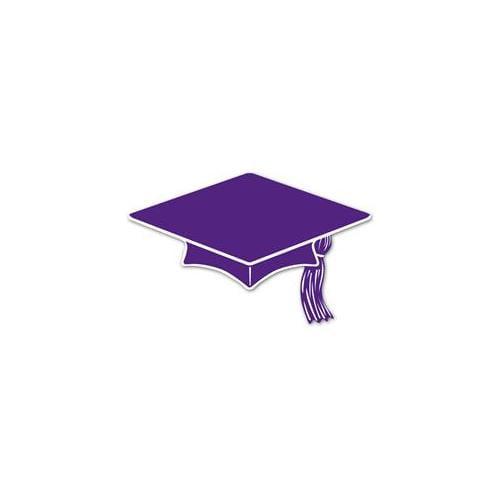 "Beistle Graduation Decor Mini Grad Cap 6"" Cutouts, Purple, 10 Pack"