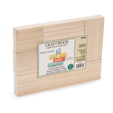 Darice Craftwood Blocks - Unfinished Wood - Assorted Sizes - 5 piece set