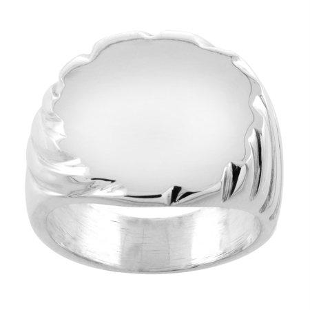 Sterling Silver Large Oval Signet Ring for Men Solid Back Handmade, sizes 9-13