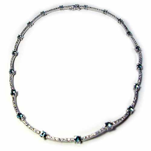 Sterling Silver 5.35ct Aquamarine Cubic Zirconia & Clear Cubic Zirconia Pave Link Necklace by SilverSpeck