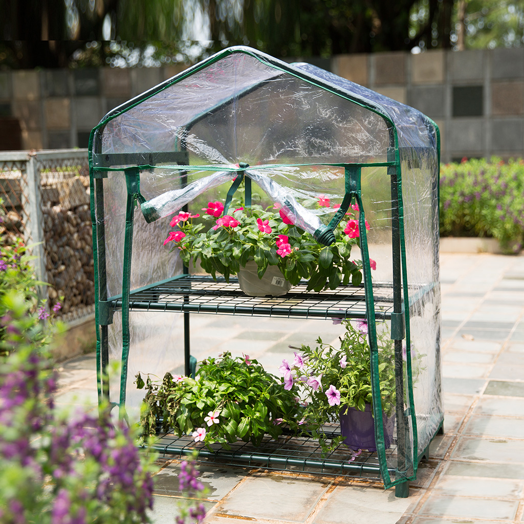 Portable Mini 2-Tier Herb Greenhouse with Transparent Cover for Indoor Outdoor Flower Garden Balcony 27.2''W x 19.3''D x 37.4''H