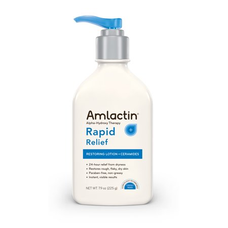 AmLactin Alpha-Hydroxy Therapy Rapid Relief Restoring Lotion + Ceramides 24 Hour Dryness Relief Powerfully Gently Exfoliates Rough Flaky Dry Skin, 7.9 Oz. Pump