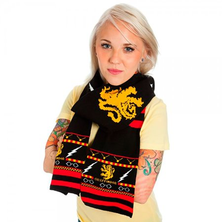 Harry Potter Gryffindor Symbols & Pattern Fair Isle Black Knit Scarf](Harry Potter Infinity Scarf)