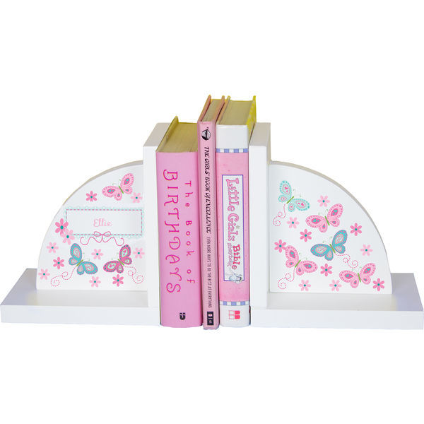Personalized Butterflies aqua pink Childrens Bookends