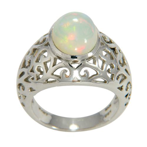 Sterling Silver Opal Filigree Dome Ring Size 7