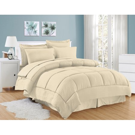 Dobby Embossed Hotel Comforter Sheet Sham 8 Piece Bed In A Bag Set ()