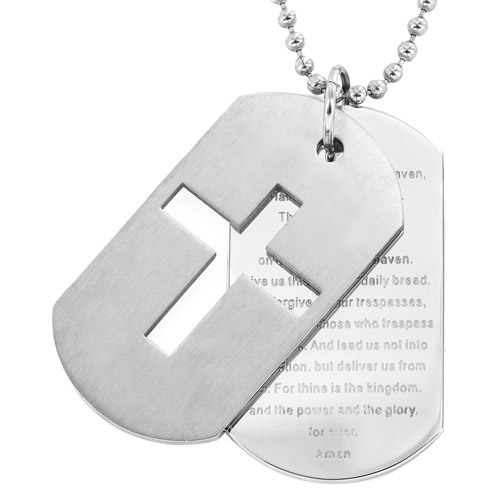 """Men's Stainless Steel Cross and """"Lord's Prayer"""" Double Dog Tag Necklace"""