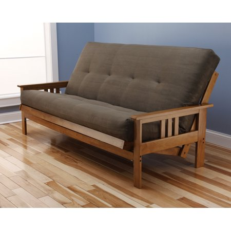 andover full size futon sofa bed honey oak wood frame suede innerspring mattress