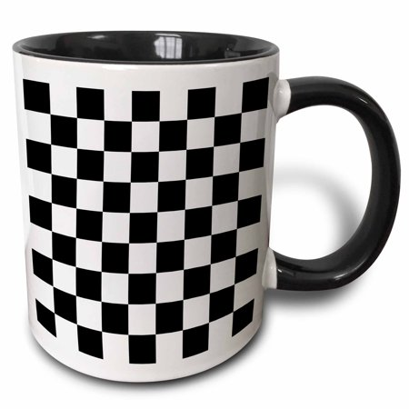 3dRose Check black and white pattern - checkered checked squares chess checkerboard or racing car race flag, Two Tone Black Mug, 11oz ()