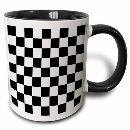 3dRose Check black and white pattern - checkered checked squares chess checkerboard or racing car race flag, Two Tone Black Mug, 11oz - Black & White Checkered